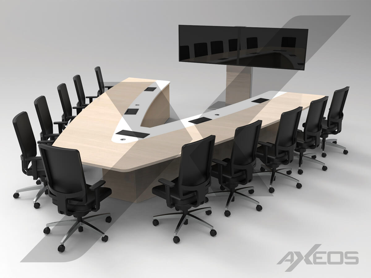 Table in V shape 11 people + Xenon Wide Dual Screen - AXEOS