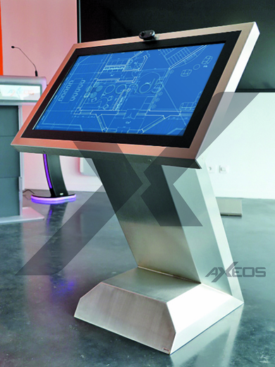 Brushed stainless steel kiosk - AXEOS