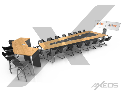 Trapezoidal table 17 people, standing height table 4 people and Xenon Dual Screen - AXEOS