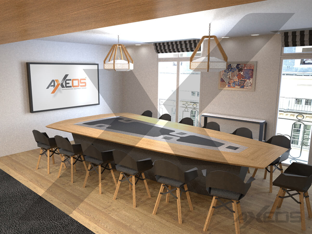 Trapezoidal table for 13 people - Meeting room - AXEOS