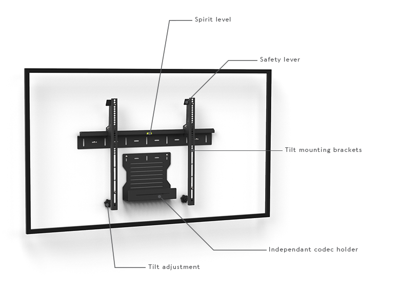 Wall mount 1U Single Screen - Schema ENG - AXEOS