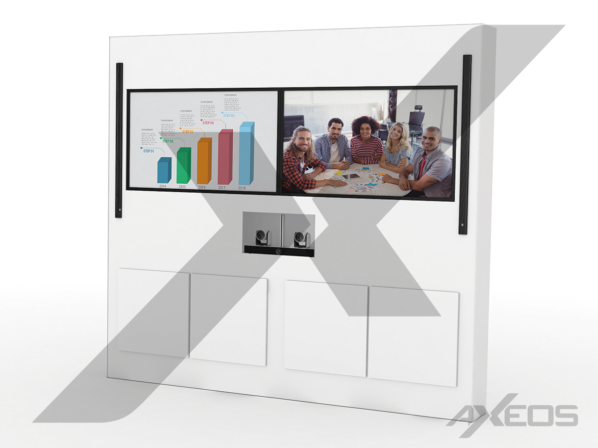 White Telepresence totem 2 screens - AXEOS