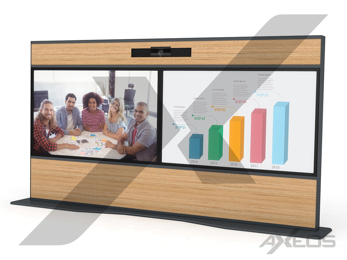 Wooden Telepresence totem 2 screens - AXEOS